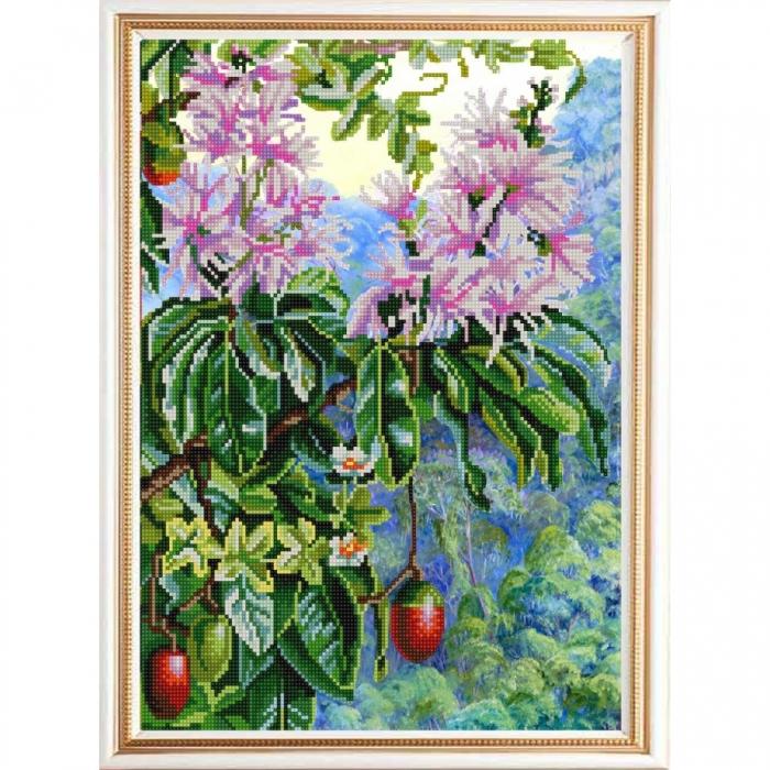 Рисунок на ткани (Бисер) КОНЁК арт. 9965 Экзотические цветы 4 29х39 см