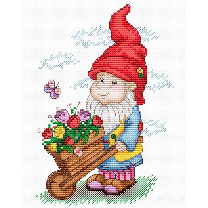 Набор для вышивания ЖАР-ПТИЦА арт.М-134 Гном в красном колпаке 18х14 см
