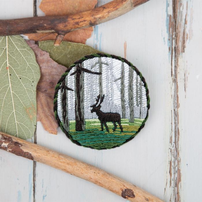 """Набор для вышивания PANNA """"Живая картина"""" арт. JK-2146 Брошь. Лесной олень 5,5х5,5 см"""