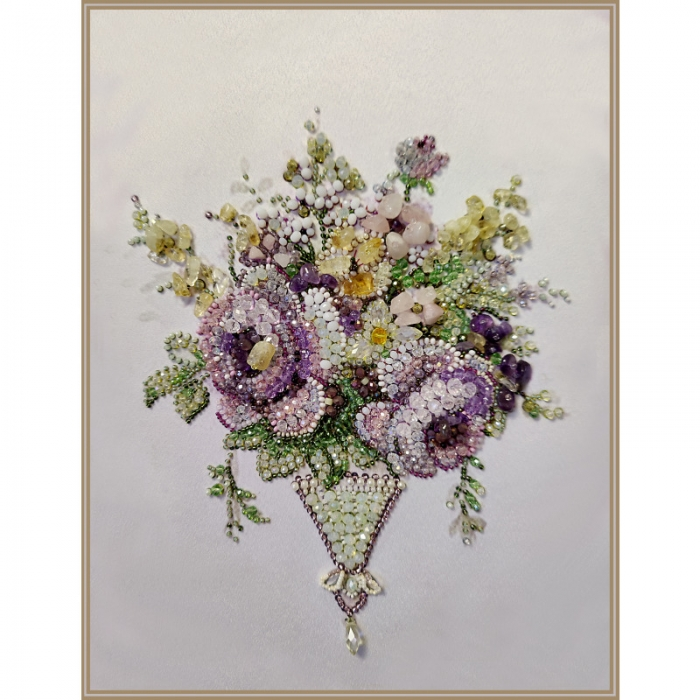 Набор для вышивания хрустальными бусинами ОБРАЗА В КАМЕНЬЯХ арт. 5545 Винтаж Violet mini 18х23 см