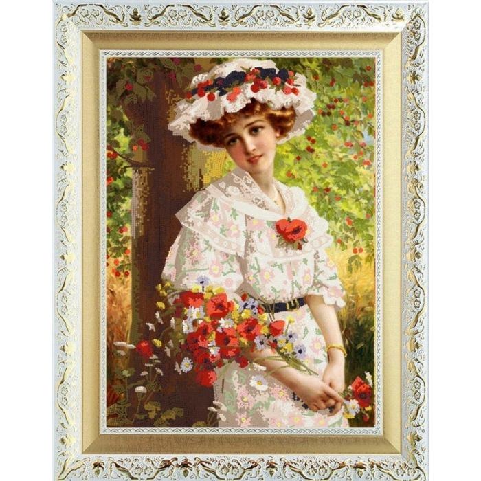 Рисунок на ткани (Бисер) КОНЁК арт. 8475 Девушка с маками 29х39 см