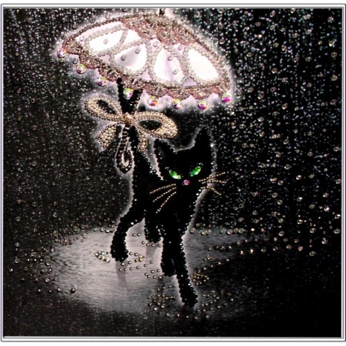 Набор для вышивания хрустальными бусинами ОБРАЗА В КАМЕНЬЯХ арт. 5525 Соло под дождем 30х30 см