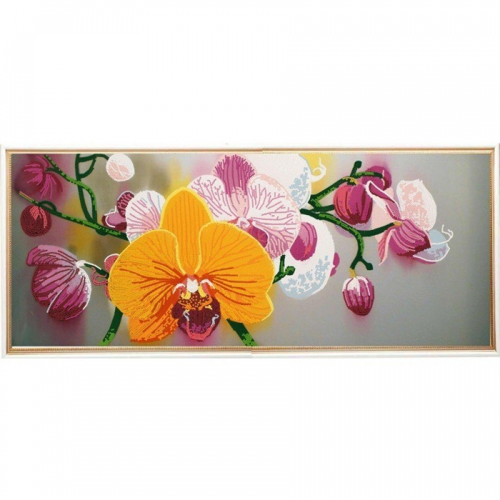 Рисунок на ткани (Бисер) КОНЁК арт. 8496 Нежные орхидеи 25х65 см