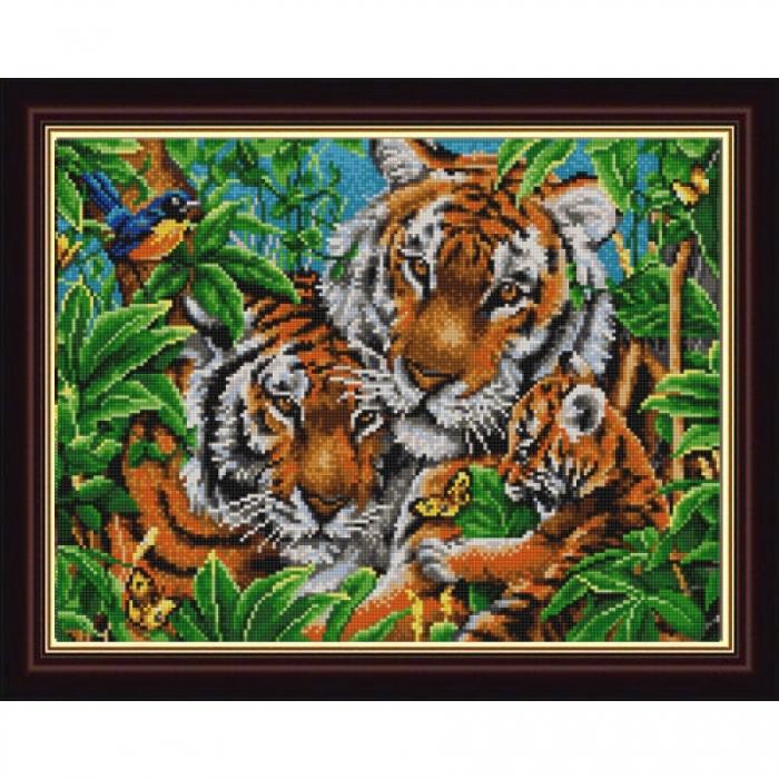 Рисунок на ткани (Бисер) КОНЁК арт. 9836 Тигры 29х39 см