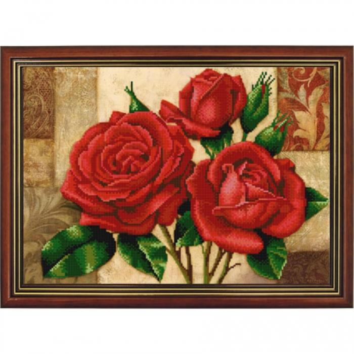 Рисунок на ткани (Бисер) КОНЁК арт. 9867 Красные розы 29х39 см