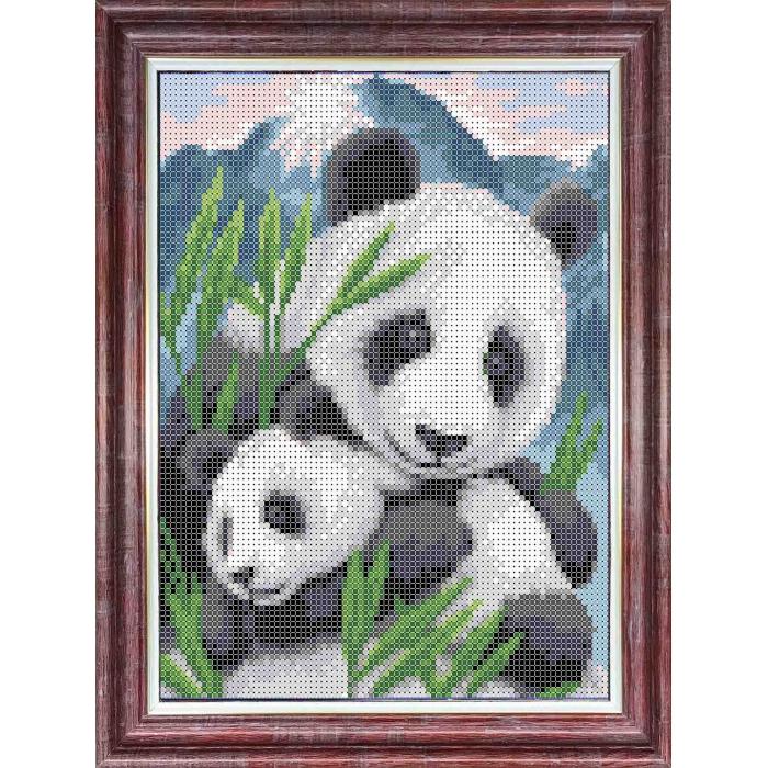 Канва с нанесенным рисунком КАРОЛИНКА арт. КК-0006 Матери и их зверята. Панды 20,5х17,5 см