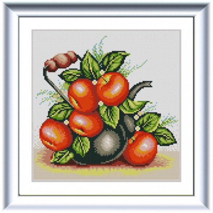 Рисунок на ткани (Бисер) КОНЁК арт. 1322 Яблочный чайник 25х25 см