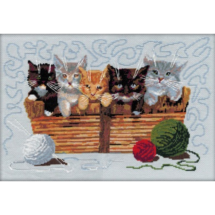 Набор для вышивания мулине НИТЕКС арт.0029 Котята 40х26,5 см