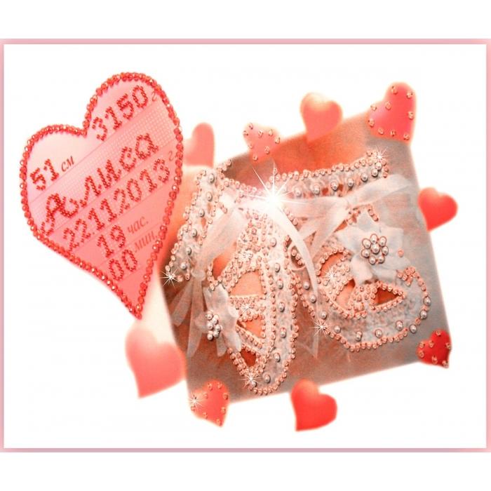 Набор для вышивания хрустальными бусинами ОБРАЗА В КАМЕНЬЯХ арт. 5507 Метрика для девочки с алфавитом 32х22 см