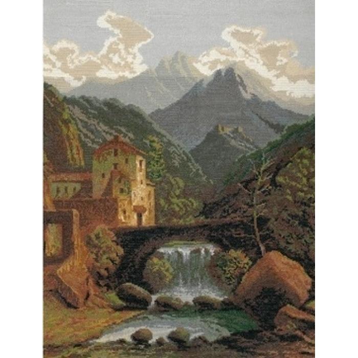 Набор для вышивания мулине НИТЕКС арт.0021 Замок в горах 46х60 см