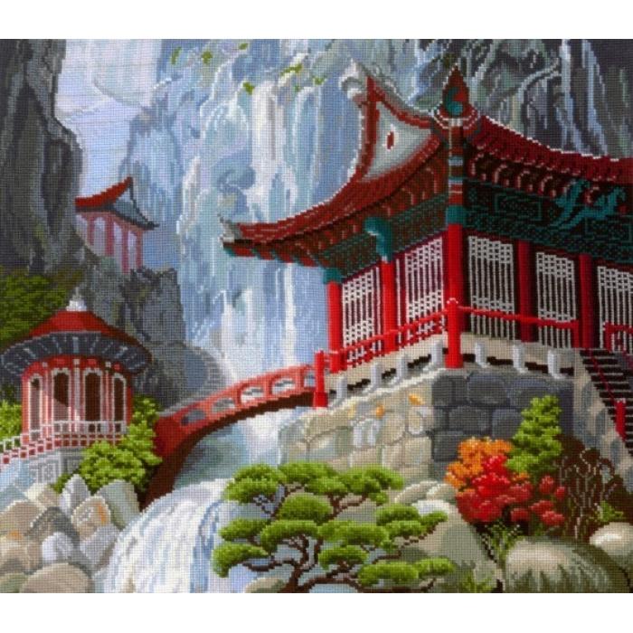 Набор для вышивания СДЕЛАЙ СВОИМИ РУКАМИ арт.В-12 Водопад и пагода 40х35 см