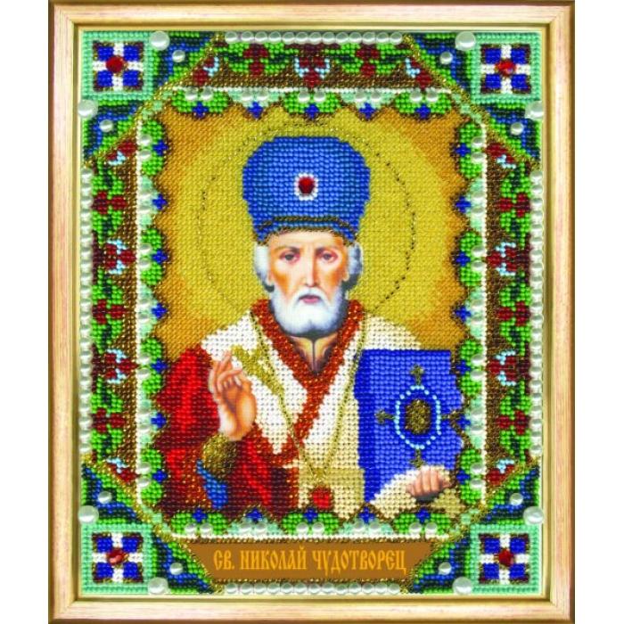 Набор для вышивания бисером ЧАРИВНА МИТЬ арт.Б-1209 Икона святителя Николая Чудотворца 17,9х22 см