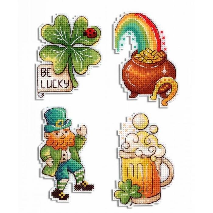 Набор для вышивания ЖАР-ПТИЦА арт.Р-577 День Святого Патрика. Магниты. 6х8,7х9 см