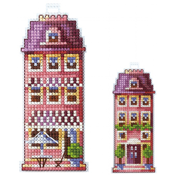Набор для вышивания СДЕЛАЙ СВОИМИ РУКАМИ арт.Д-17 Домики.Розовый домик 5х12см