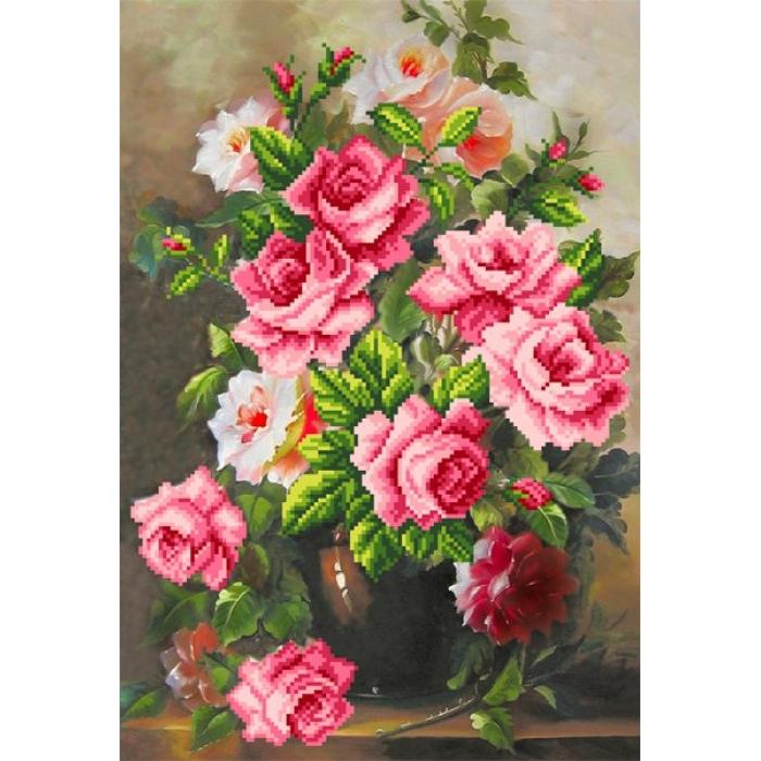 Набор для вышивания бисером МАТРЕНИН ПОСАД арт.37х49 - 0068/Б Розовая элегия