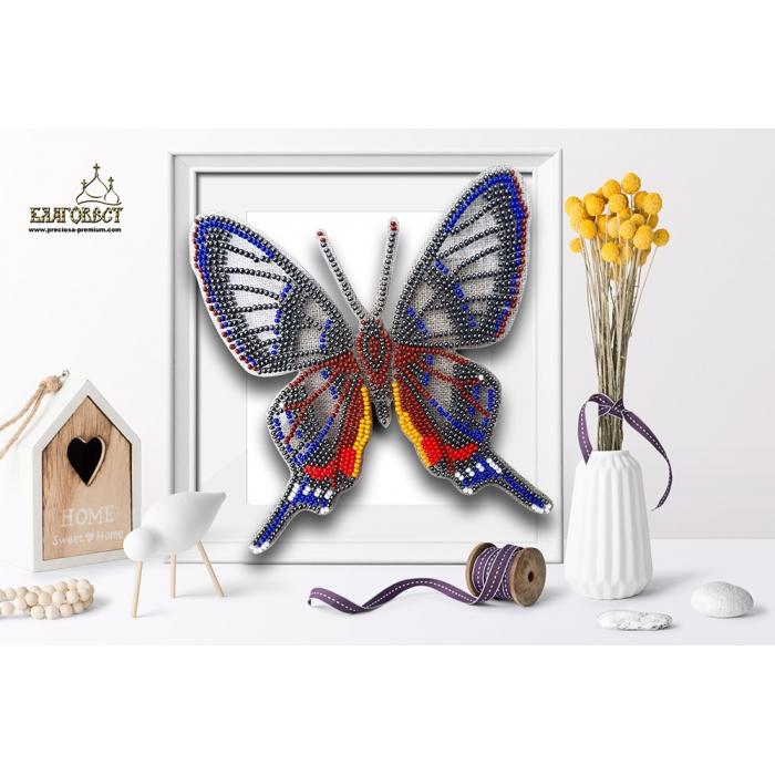 Набор для вышивки бисером 3-D БЛАГОВЕСТ арт.Б-007 Бабочка Форинеа Фаунус 13х14 см