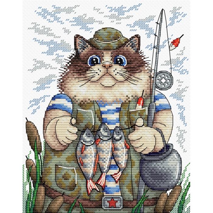 Набор для вышивания ЖАР-ПТИЦА арт.М-215 Охота на рыбку 22х17 см