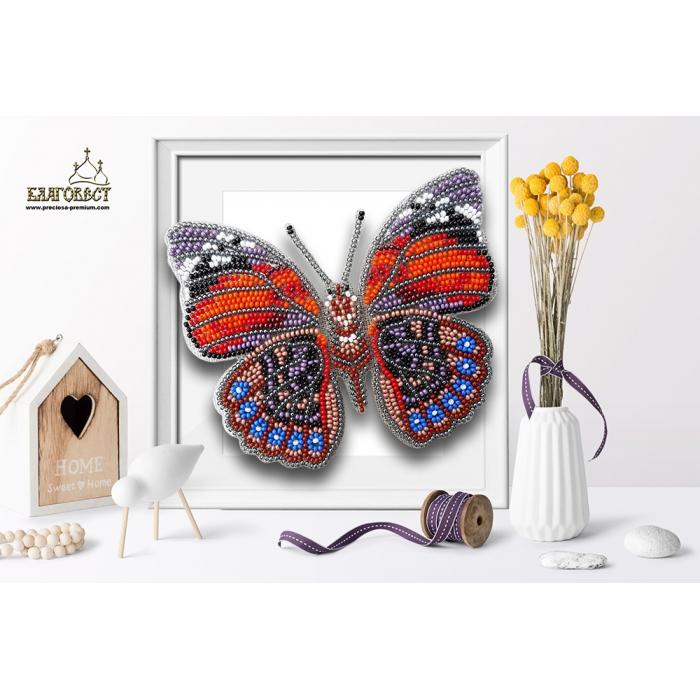 Набор для вышивки бисером 3-D БЛАГОВЕСТ арт.Б-016 Бабочка Agrias Glaudina 12,5х11 см