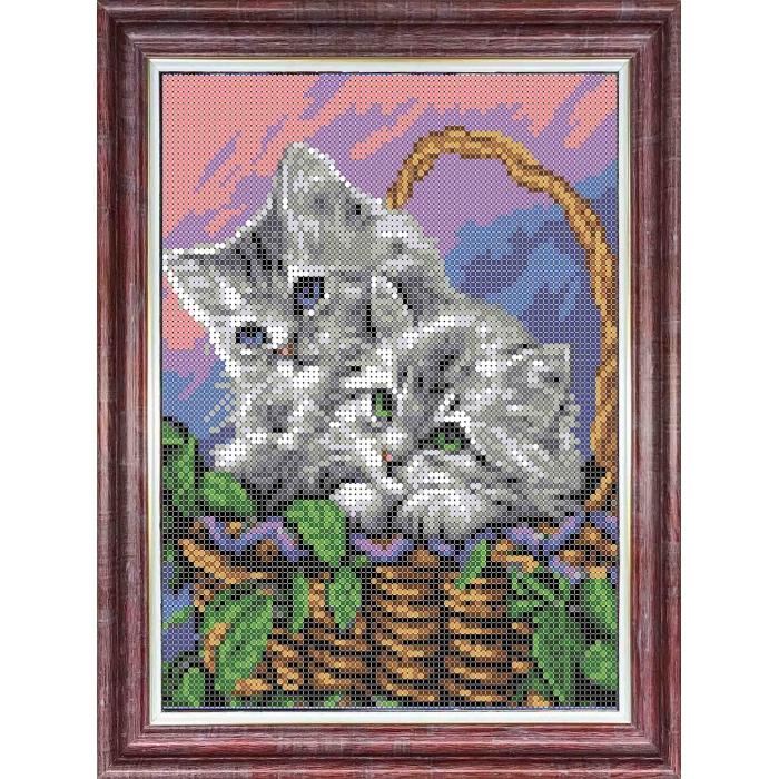 Канва с нанесенным рисунком КАРОЛИНКА арт. КК-0007 Матери и их зверята. Котята 20,5х17,8 см