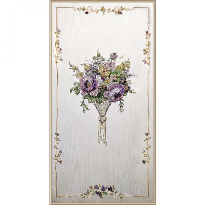 Набор для вышивания хрустальными бусинами ОБРАЗА В КАМЕНЬЯХ арт. 5546 Винтаж Violet Интерьерный 25х50 см