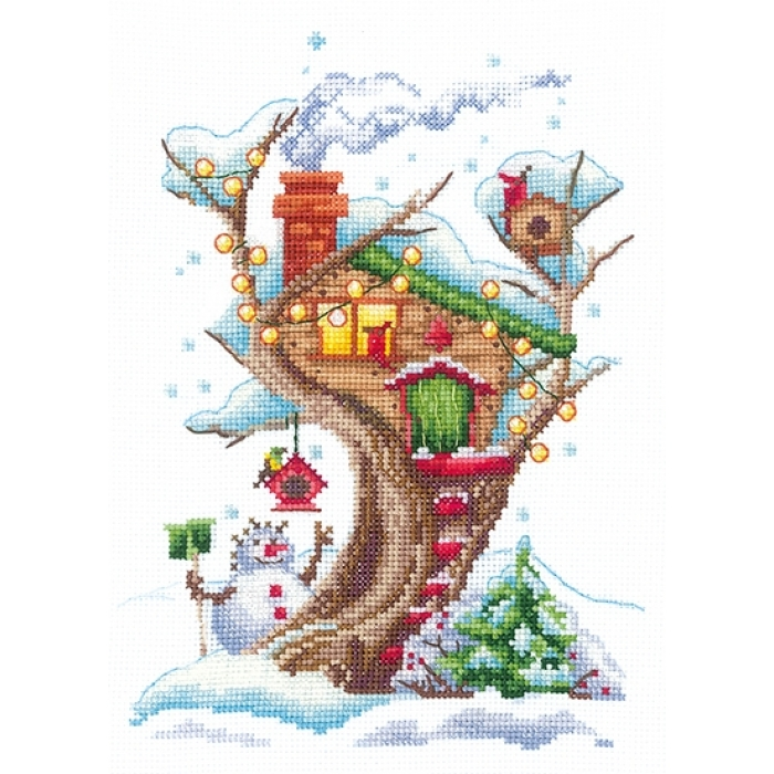 Набор для вышивания СДЕЛАЙ СВОИМИ РУКАМИ арт.Д-23 Дома на деревьях. Снежный 14,5х20 см