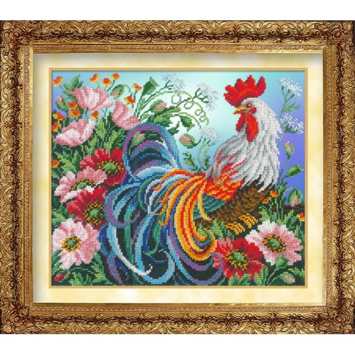 Набор для вышивания бисером РУССКАЯ ИСКУСНИЦА арт.1020 Красавец петух 31х26 см