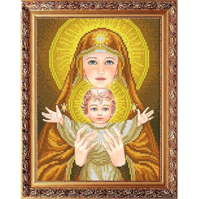 Рисунок на габардине СЛАВЯНОЧКА арт. ААМА-4004 Богородица с младенцем в золоте 20х25 см
