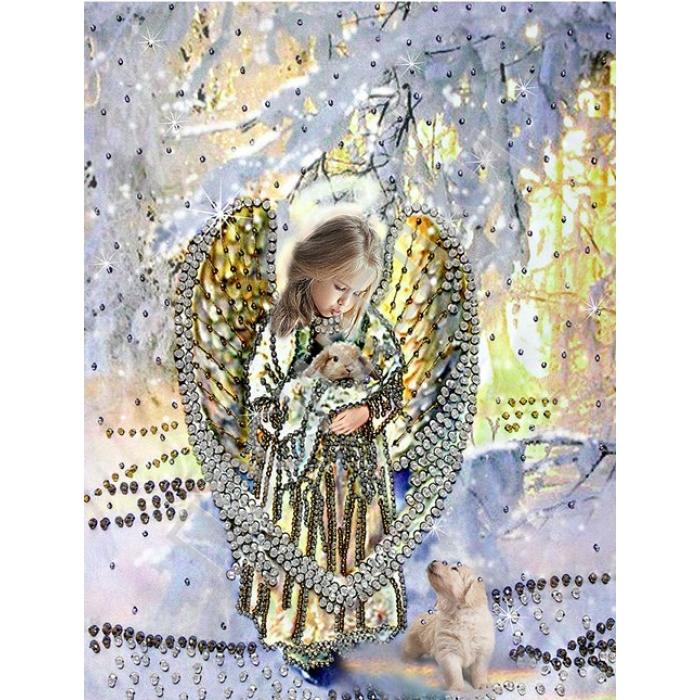 Набор для вышивания хрустальными бусинами ОБРАЗА В КАМЕНЬЯХ арт. 5510 Лесной ангел 32,5х27,5 см