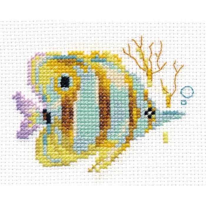 Набор для вышивания АЛИСА арт.0-151 Тропические рыбки. Полосатая 9х7 см