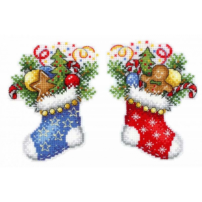 Набор для вышивания ЖАР-ПТИЦА арт.Р-496 Новогодний носок 12х9 см