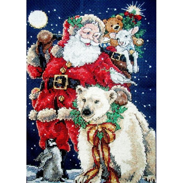 """Набор для вышивания Classic Design арт.4375 """"Санта с друзьями"""" 13х18 см"""