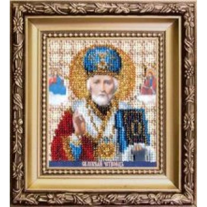 Набор для вышивания бисером ЧАРИВНА МИТЬ арт.Б-1120 Икона святителя Николая Чудотворца 9х11 см