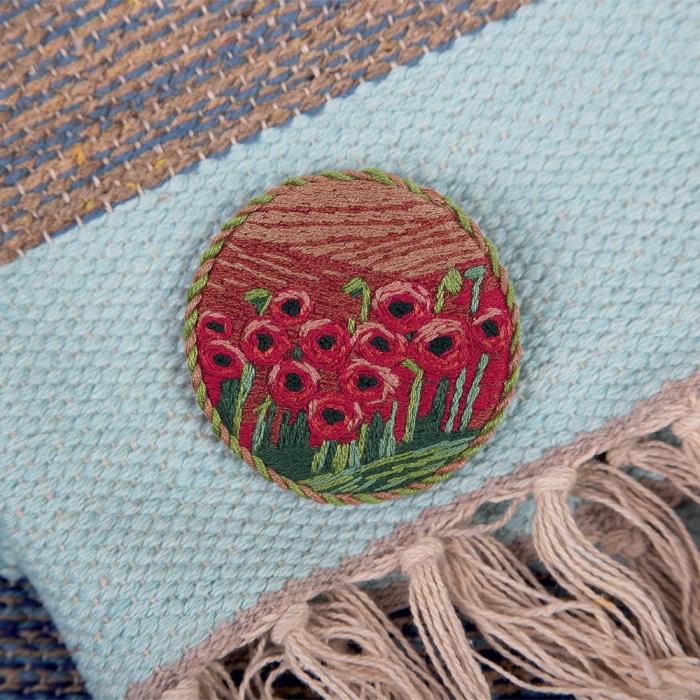 """Набор для вышивания PANNA """"Живая картина"""" арт. JK-2147 Брошь. Маковое поле 5,5х5,5 см"""