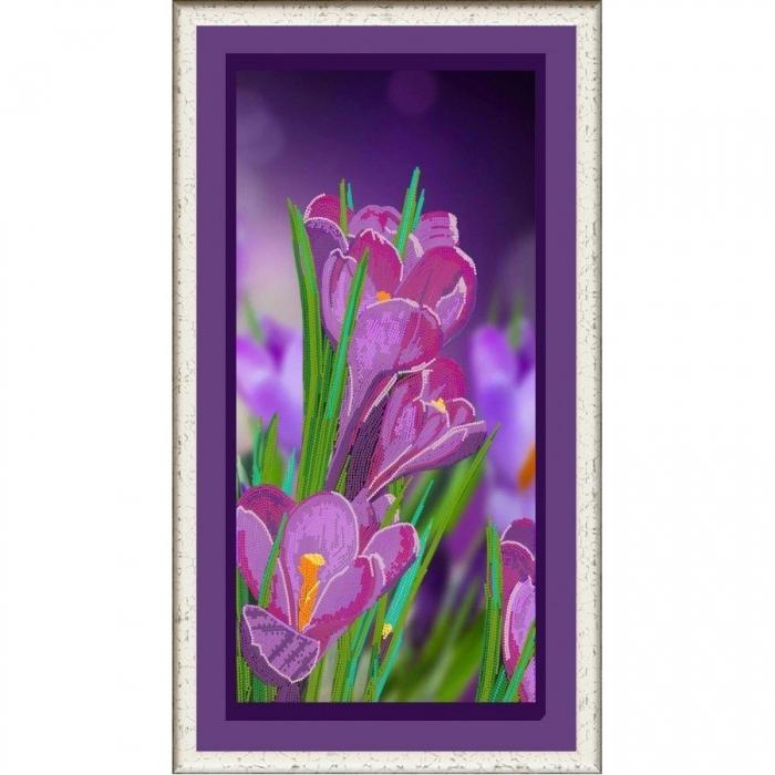 Рисунок на ткани (Бисер) КОНЁК арт. 8497 Сиреневые крокусы 25х45 см
