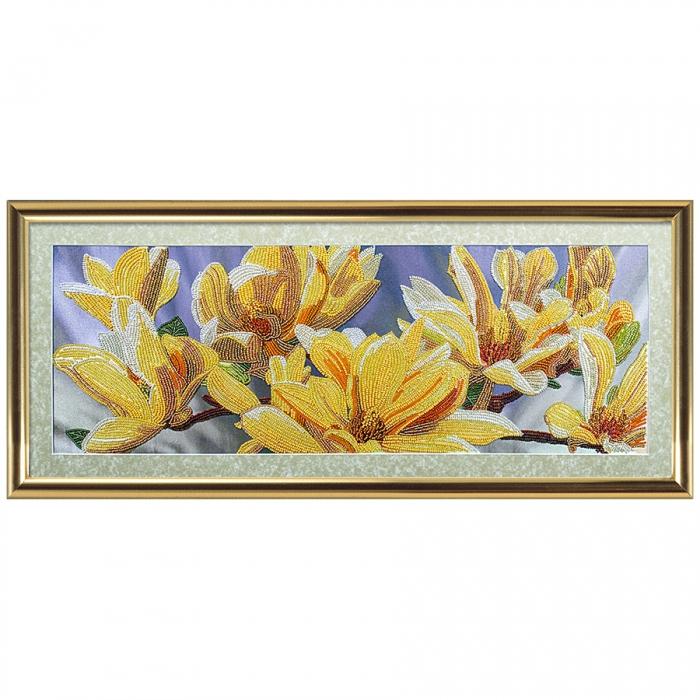 Набор для вышивания бисером НОВА СЛОБОДА арт.ДК1087 Золотая магнолия 35х35 см