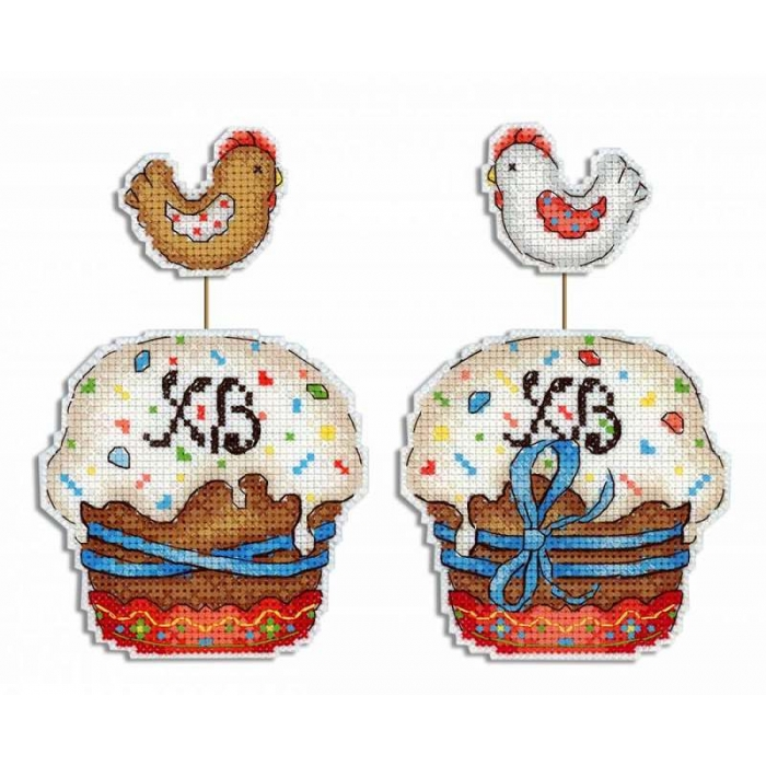 Набор для вышивания ЖАР-ПТИЦА арт.Р-482 Пасхальный кулич 13х9 см