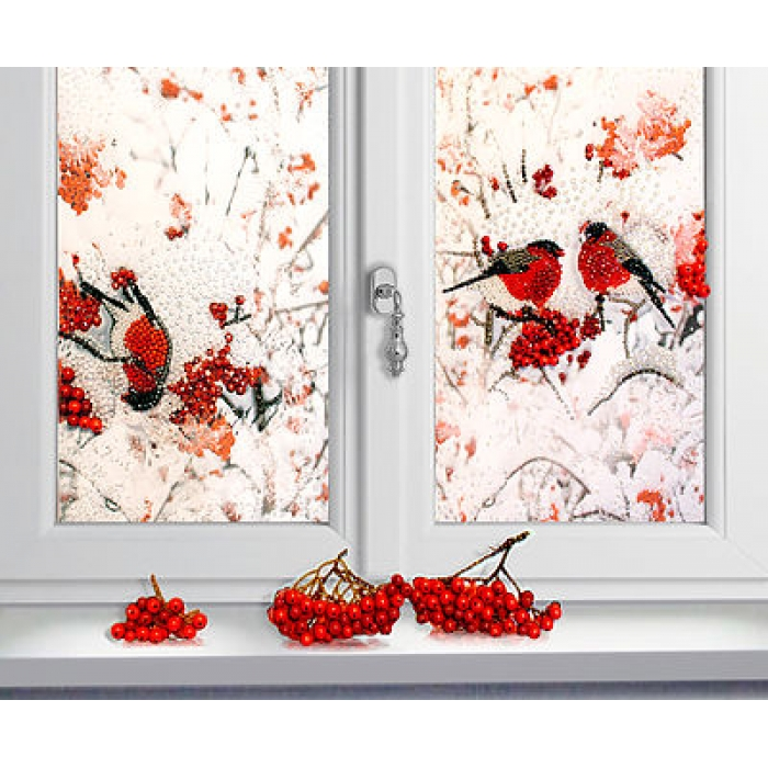 Набор для вышивания хрустальными бусинами ОБРАЗА В КАМЕНЬЯХ арт. 5517 Снегири за окном 48х64 см