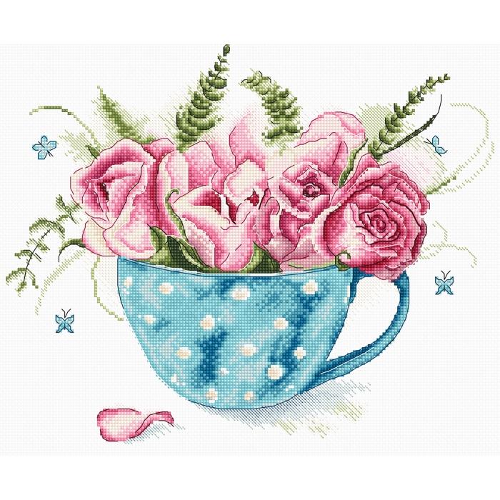 Набор для вышивания LETI арт. 916 Чашка роз 23х19 см