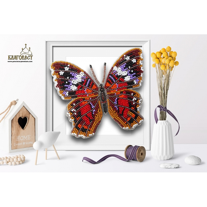 Набор для вышивки бисером 3-D БЛАГОВЕСТ арт.Б-017 Бабочка Anartia Amathea 12,5х11 см
