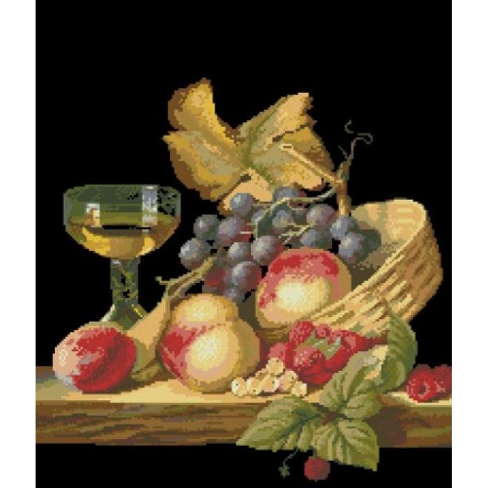 Набор для вышивания мулине НИТЕКС арт.0024 Натюрморт с фруктами 40х46 см