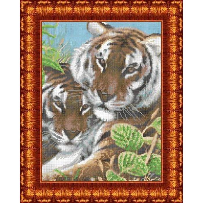 Канва с нанесенным рисунком КАРОЛИНКА арт. КК-001 Тигры 23х31 см