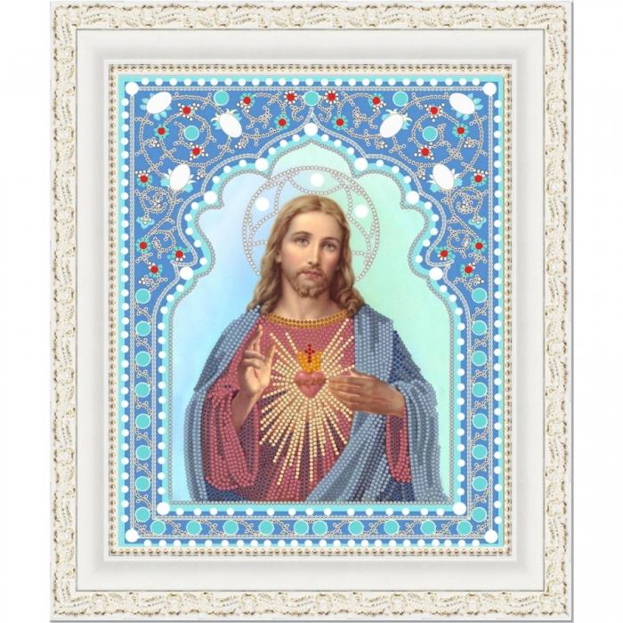 Рисунок на ткани (Бисер) КОНЁК арт. 7104 Святейшее Сердце Иисуса 20х25 см