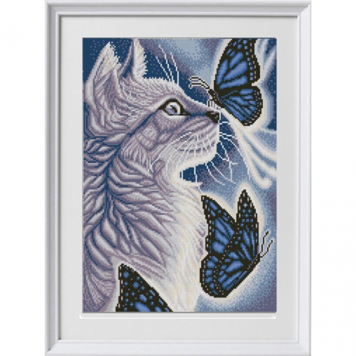 Рисунок на ткани (Бисер) КОНЁК арт. 1303 Белый кот 29х39 см