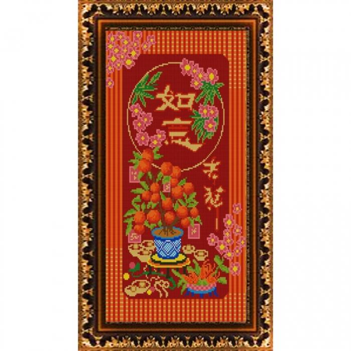 Рисунок на ткани (Бисер) КОНЁК арт. 9874 Мандариновое дерево 25х45 см