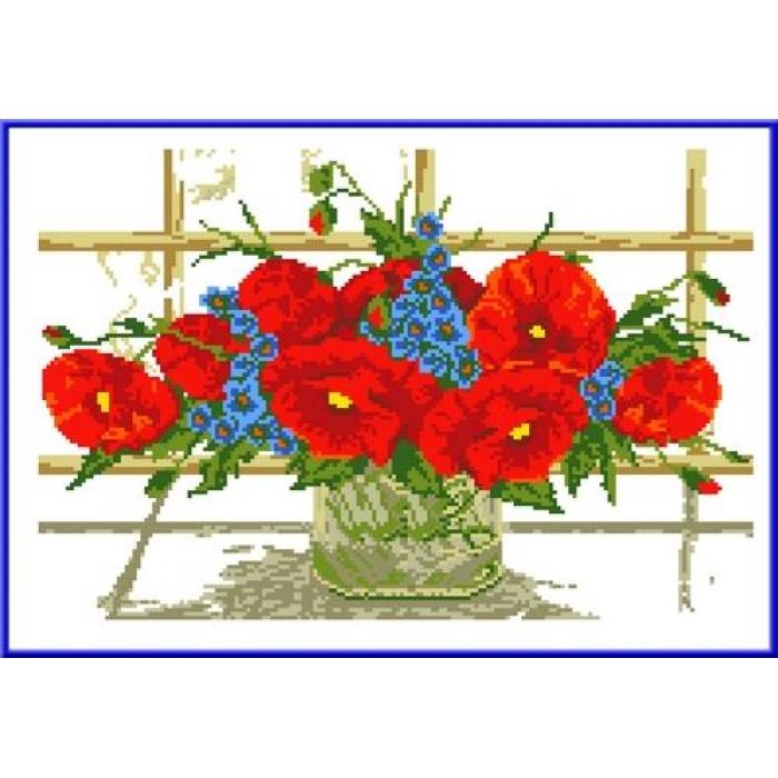 Канва с нанесенным рисунком КАРОЛИНКА арт. КК-011 Маки у окна 22х33 см