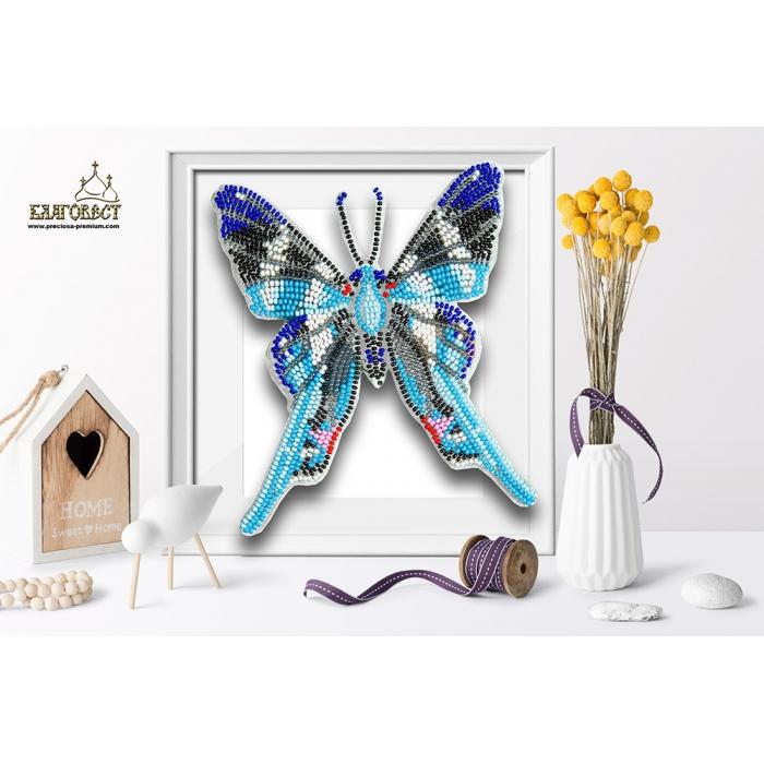 Набор для вышивки бисером 3-D БЛАГОВЕСТ арт.Б-009 Бабочка Rhetus arcius 12х14 см