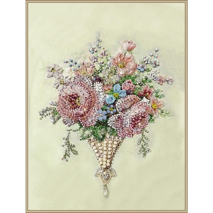 Набор для вышивания хрустальными бусинами ОБРАЗА В КАМЕНЬЯХ арт. 5547 Винтаж Rose mini 18х23 см