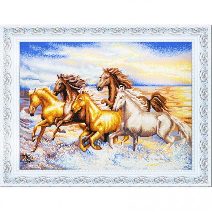 Рисунок на ткани (Бисер) КОНЁК арт. 9856 Рассекая волны 45х60 см