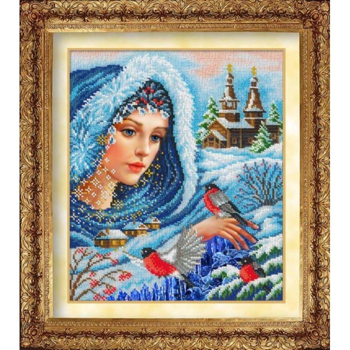 Набор для вышивания бисером РУССКАЯ ИСКУСНИЦА арт.1026 Волшебница зима 26х31 см