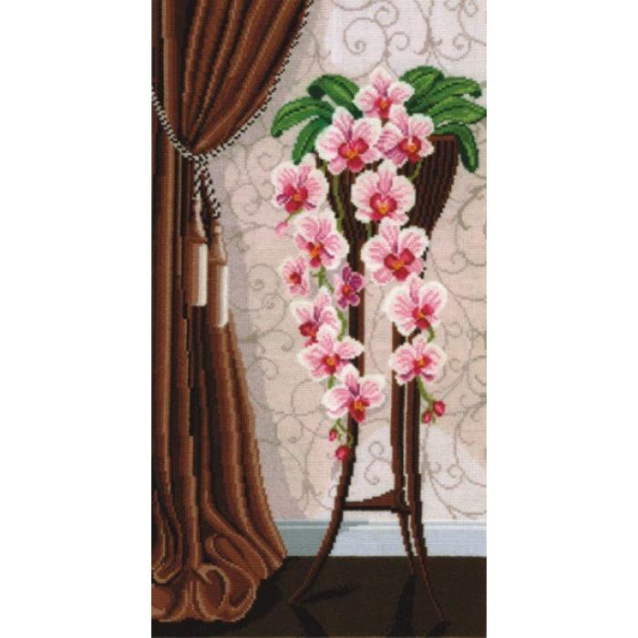 Набор для вышивания СДЕЛАЙ СВОИМИ РУКАМИ арт.В-13 Ваза с орхидеями 29х50 см
